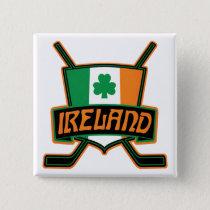 Irish Ice Hockey Flag Logo Badge Pinback Button