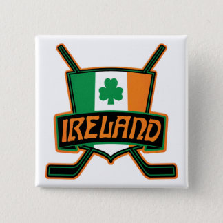Irish Ice Hockey Flag Logo Badge Pinback Button