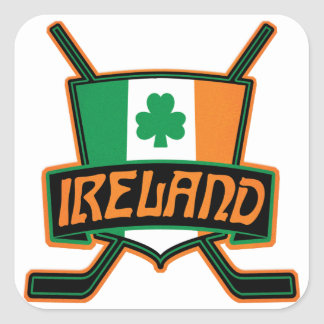 Irish Ice Hockey Flag Logo Square Sticker