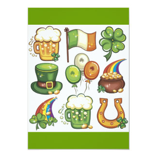Irish Icons greens beer clover hats balloons 5x7 Paper Invitation Card
