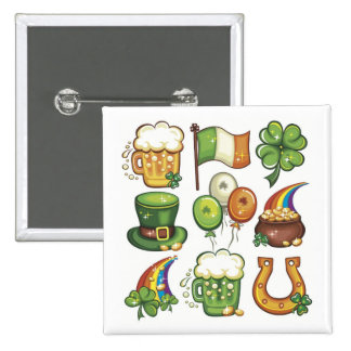 Irish Icons greens beer clover hats balloons Button
