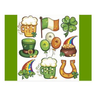Irish Icons greens beer clover hats balloons Postcard