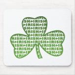 Irish in Shamrocks Green on White Mousepad