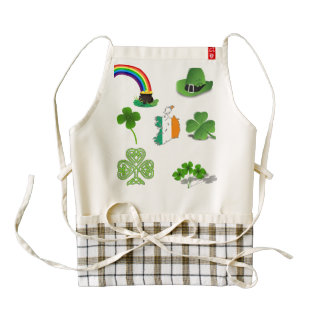 Irish Ireland lucky clover rainbow treasure green Zazzle HEART Apron