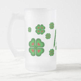 Irish, Ireland shamrock, clover 16 Oz Frosted Glass Beer Mug
