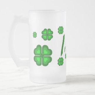 Irish, Ireland shamrock, clover Frosted Glass Beer Mug