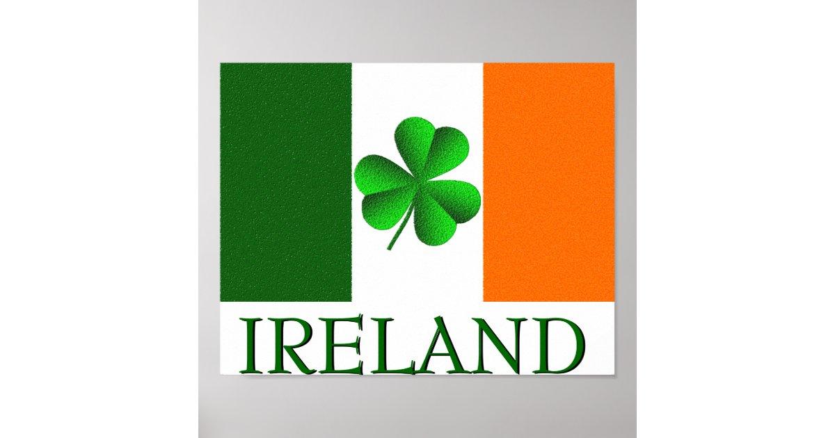 Irish Ireland Shamrock Flag Colors Poster Zazzle Com