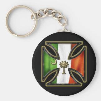 Irish Iron Cross with Palmetto Basic Round Button Keychain