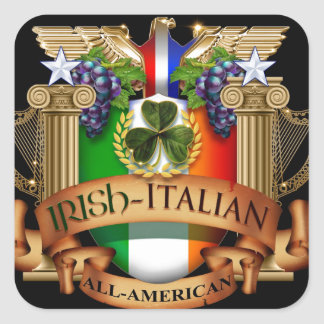 Irish Italian all American Square Sticker