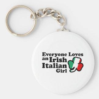 Irish Italian Girl Basic Round Button Keychain