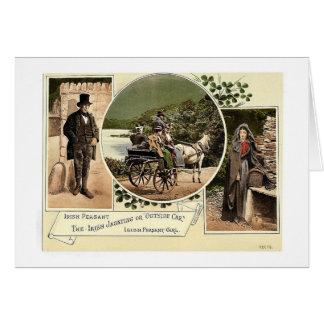 Irish Jaunting Car and Peasants. Co. Galway, Irela Greeting Card