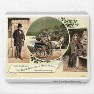 Irish Jaunting Car and Peasants. Co. Galway, Irela Mousepad