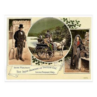 Irish Jaunting Car and Peasants. Co. Galway, Irela Postcard