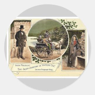 Irish Jaunting Car and Peasants. Co. Galway, Irela Classic Round Sticker