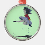 Irish Jig Folk Dancing Cartoon Girl Christmas tree Round Metal Christmas Ornament