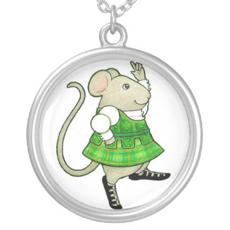 Irish Jig Mouse Round Sterling Silver Necklace