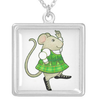 Irish Jig Mouse Square Sterling Silver Necklace