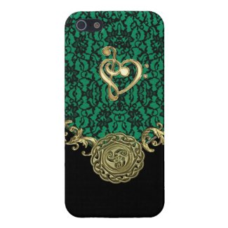 Irish Kelly Green Celt Lace Love Music Clef Heart iPhone 5 Covers