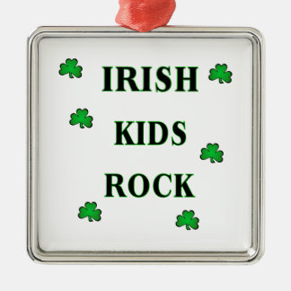 Irish Kids Rock Metal Ornament