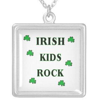 Irish Kids Rock Square Pendant Necklace