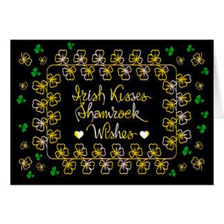 Irish kisses shamrock wishes card