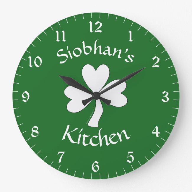 Irish Kitchen Decor Personalized Clock Shamrock