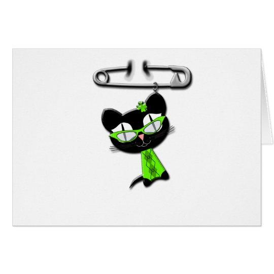 Irish Kitty Charm Card