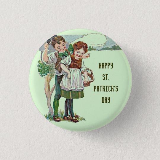 Irish lad and lassie in green button