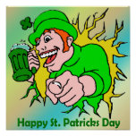 Irish Lad with Green Beer Poster