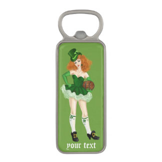 Irish lady  green beer Saint Patrick's day Magnetic Bottle Opener