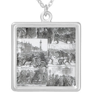 Irish Land League Agitation Square Pendant Necklace