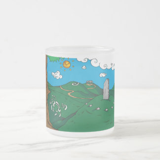 Irish landscape frosted glass coffee mug