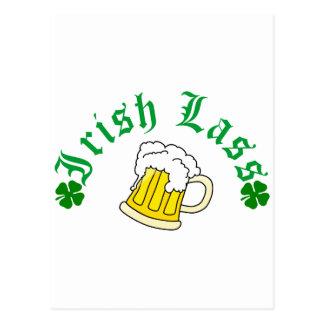Irish Lass Beer Postcard