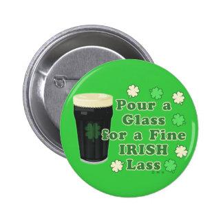 Irish Lass St Patrick's Day Pint Glass Funny Buttons