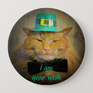 Irish Leprechaun Cat Wish Button