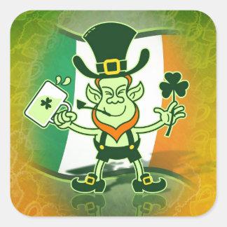 Irish Leprechaun Drinking a Toast Square Sticker
