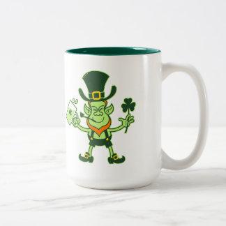 Irish Leprechaun Drinking a Toast Two-Tone Coffee Mug