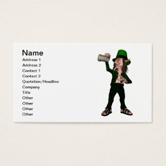 Irish Leprechaun holding empty tankard Business Card
