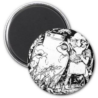 Irish Leprechaun Silhouette (Black) 2 Inch Round Magnet