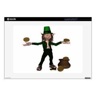 Irish Leprechaun with coins and a pot of gold Laptop Skins