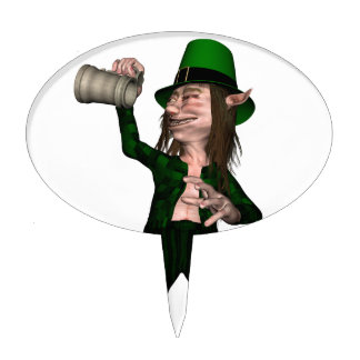 Irish Leprechaun with Tankard Cake Topper