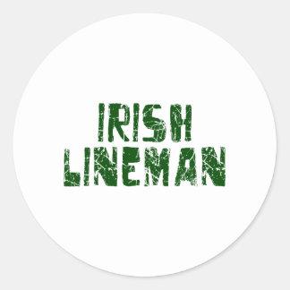 Irish Lineman Classic Round Sticker