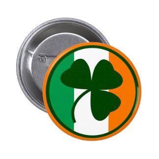 Irish logo, shamrock on flag colors button