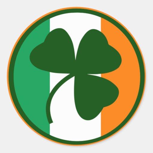 Irish logo, shamrock on flag colors classic round sticker | Zazzle