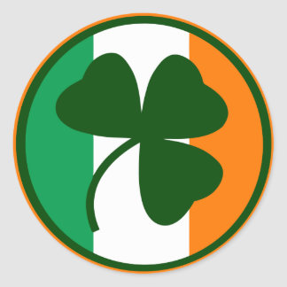 Irish logo, shamrock on flag colors round sticker