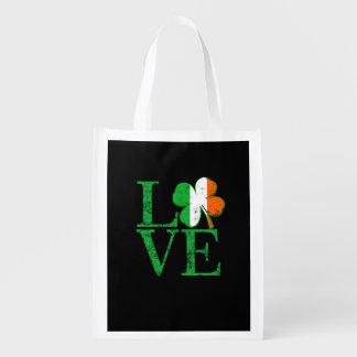 Irish Love for St Patricks Reusable Grocery Bag