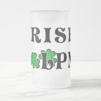 Irish LPN Nurses Frosted Glass Beer Mug