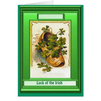 Irish Luck,  Clog full of shamrock Card