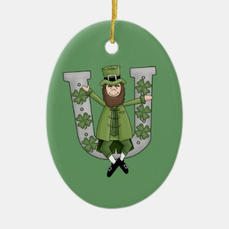 Irish Luck Double-Sided Oval Ceramic Christmas Ornament