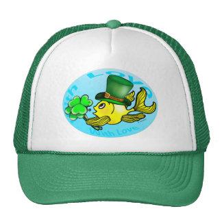 IRISH LUCK GOLDFISH wearing hat and shamrocks cute